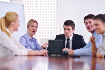 business people in a video meeting